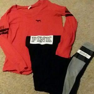 VS PINK yoga and long sleeve t-shirt.